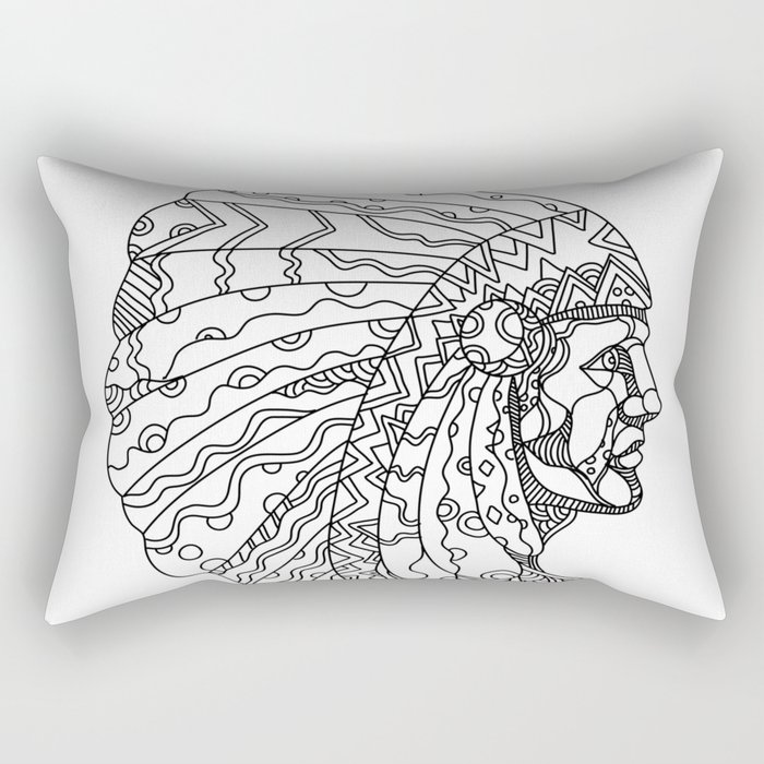 American Plains Indian with War Bonnet Doodle Rectangular Pillow