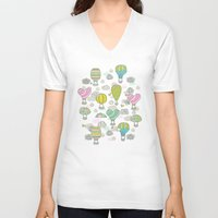 hot air balloons V-neck T-shirts featuring Hot air balloons by Anna Alekseeva kostolom3000