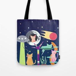 Alien Cat Tower Tote Bag
