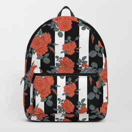 Orange roses on a striped background. Backpack