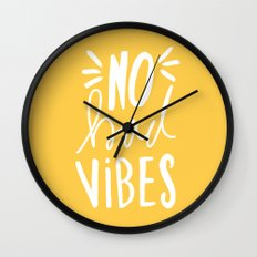 No Bad vibes hand lettered typography - Yellow Wall Clock