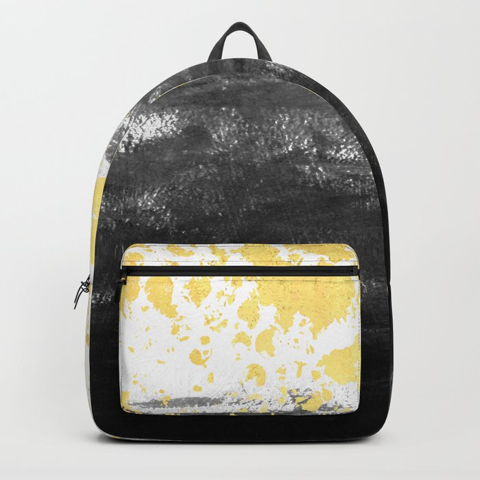 Minimal painting abstract gold black and white ocean water waves dots painterly Backpack