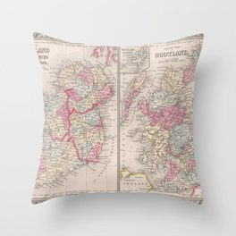 Beautiful 1863 Vintage Color County Map of Scotland Throw Pillow