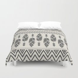 Tribal Feathers-Black & Cream Duvet Cover