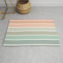 70s Stripe - pastel pink and mint, spring, pink stripes, desert, boho, dorm decor Rug