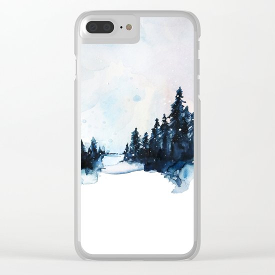 Winter Watercolor Clear iPhone Case