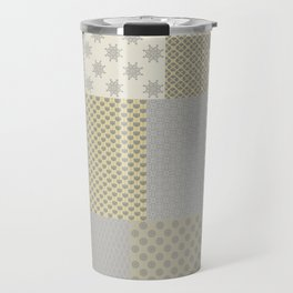 Modern Farmhouse Patchwork Quilt in Gray Marigold and Oatmeal Travel Mug