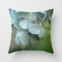 Soft Blue Hydrangea Petals Throw Pillow