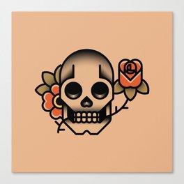 Skull Rose Tattoo Canvas Print