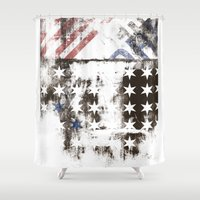 flag Shower Curtains featuring FLAG by TOO MANY GRAPHIX