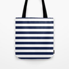 Nautical Navy Blue and White Stripes Tote Bag