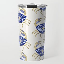 Crab – Navy & Gold Travel Mug