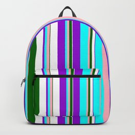 Eye-catching Dark Violet, Cyan, Light Pink, Dark Green, and White Colored Lined Pattern Backpack