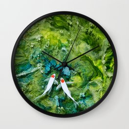 Goldfish on colorful background Wall Clock