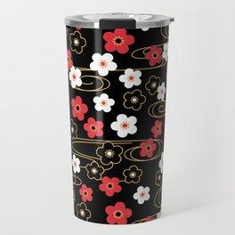 Black Sakura Kimono Pattern Travel Mug