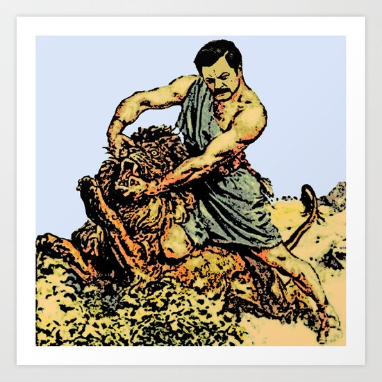 Ron Swanson Slaying A Lion  |  Parks and Recreation Art Print
