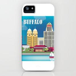 Buffalo, New York - Skyline Illustration by Loose Petals iPhone Case
