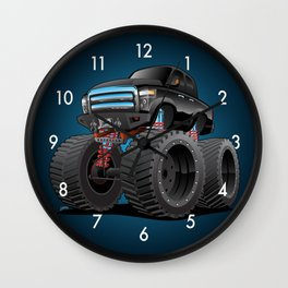Monster Pickup Truck Cartoon Wall Clock