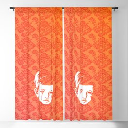Faces - crying gypsy boy on a red and orange floral background Blackout Curtain