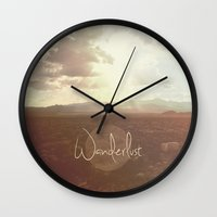 wanderlust Wall Clocks featuring Wanderlust by Ed Burczyk