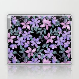Pink, purple flowers on a black background. Laptop & iPad Skin
