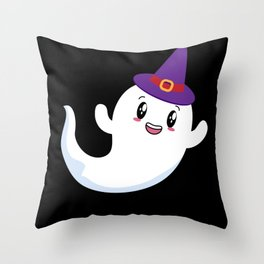 Halloween Ghost With Witch Hat Ghost Costume Throw Pillow
