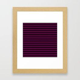 Large Black and Neon Pink Mattress Ticking Bed Stripes Framed Art Print
