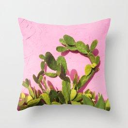 Pink Wall/Green Cactus  Throw Pillow