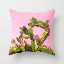 Pink Wall/Green Cactus  Throw Pillow