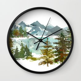 Forest green teal blue watercolor hand painted landscape Wall Clock