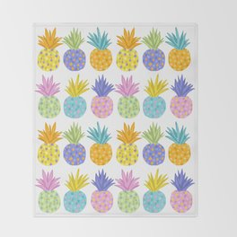 Colorful Pineapples Throw Blanket