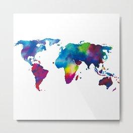 World Map - Colorful Metal Print