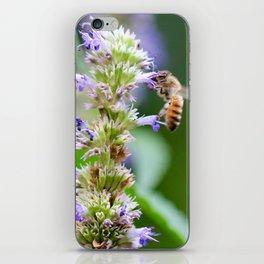 Bee on Blue Flowers 1 iPhone Skin