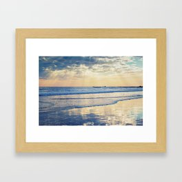 A Message From Above God Rays on Cayucos Beach Framed Art Print