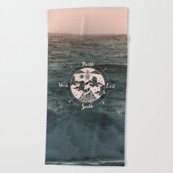 Compass Sunset Sea Dreams Beach Towel
