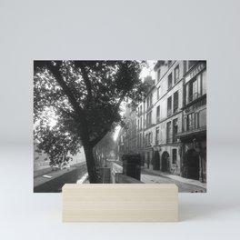 Paris - Quai d'Anjou, 6h du matin lost generation street scene 1920's black and white photography  Mini Art Print
