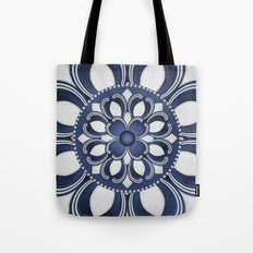 Spanish Flower in Blue Tote Bag