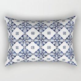 Portuguese Vintage Decorative Tile Pattern Blue Motif Mosaic Rectangular Pillow