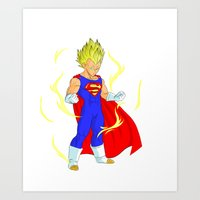 vegeta Art Prints featuring SUPER VEGETA by Javier Guijarro