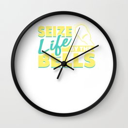 Seize Life by the Bells Funny Fitness Weightlifter Wall Clock