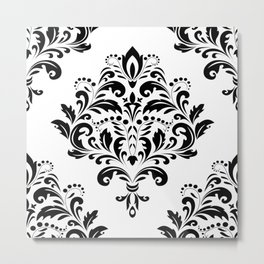 Bold Black & White Damask Pattern Metal Print