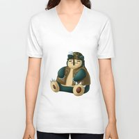 snorlax V-neck T-shirts featuring Warlax! by Kashidoodles Creations