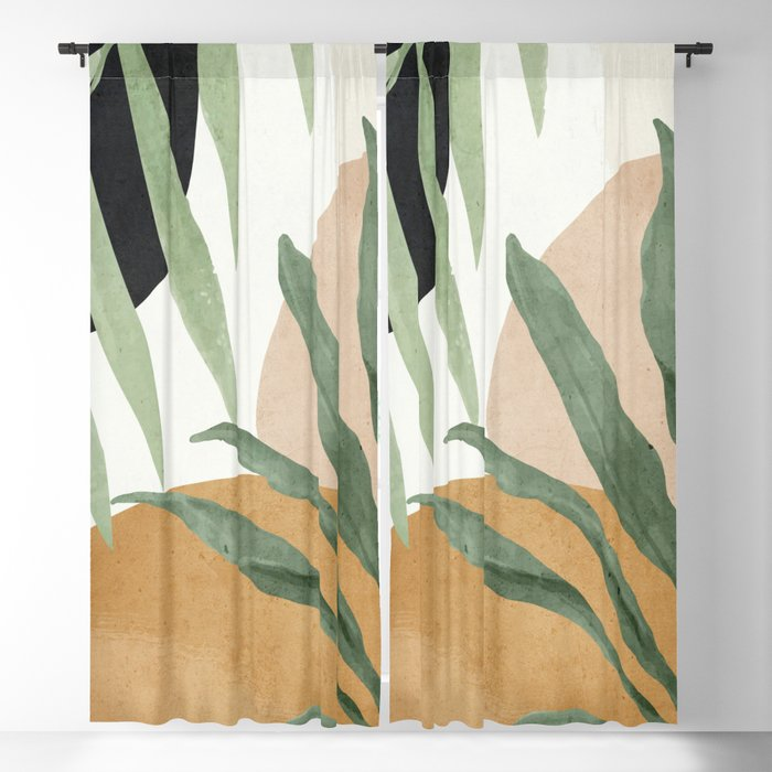 Abstract Art Tropical Leaves 4 Blackout Curtain