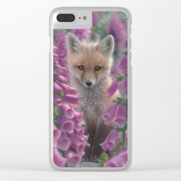 Red Fox Pup - Foxgloves Clear iPhone Case