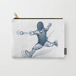 Fencer. Print for t-shirt. Vector engraving illustration. Carry-All Pouch