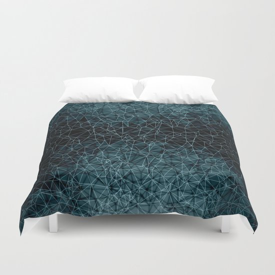 Polygonal blue and black Duvet Cover