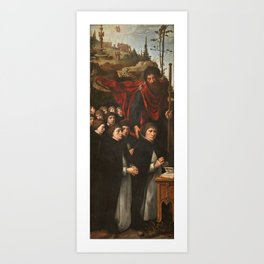 COECKE VAN AELST, PIETER Aalst Belgica, 1502 - Bruselas, 1550 Saint James the Greater with Donors in Art Print