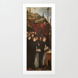COECKE VAN AELST, PIETER Aalst Belgica, 1502 - Bruselas, 1550 Saint James the Greater with Donors in Art Print