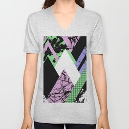 Textured Points - Marbled, pastel, black and white, paint splat textured geometric triangles Unisex V-Neck