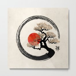 Enso Circle and Bonsai Tree on Canvas Metal Print